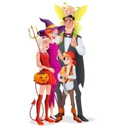 Cartoon Halloween family Vampire witch vector image