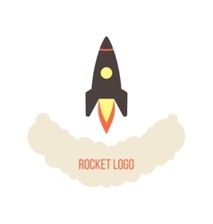 rocket launch logo isolated on white background vector image