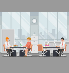 businessman working in modern office vector image vector image