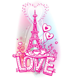Eiffel tower coffee and croissant vector image vector image