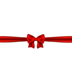 Red ribbon with bow on white background vector image vector image
