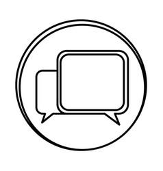 silhouette symbol square chat bubbles icon vector image vector image
