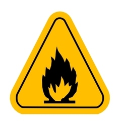 Warning icons in yellow triangle Fire dangerous vector image