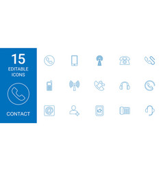 15 contact icons vector