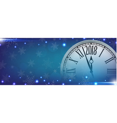 2018 happy new year with retro clock vector image