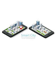 3d map isometric city of mobile vector image