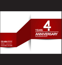 4 years anniversary design with red and white vector