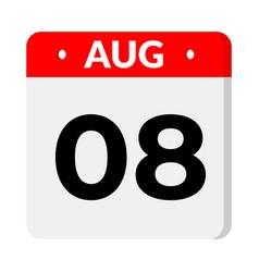 8 august calendar icon vector