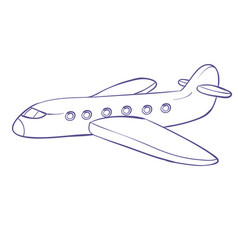 Airplane sketch coloring isolated object on a vector