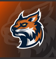 Angry wildcat head mascot logo vector