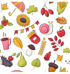 autumn season theme seamless pattern repeating vector image