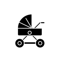 baby stroller black icon sign on isolated vector image