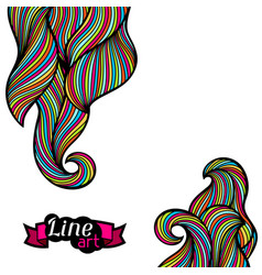 background with curls and waves abstract outline vector image