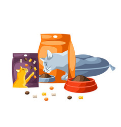 background with various cat items vector image