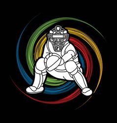 baseball player action cartoon sport graphic vector image
