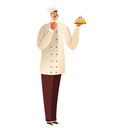 Birthday cake and baker or pastry chef isolated vector