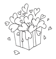 Box with hearts vector
