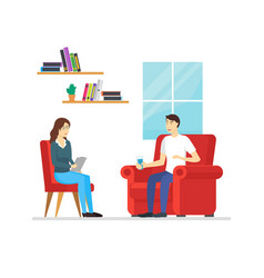cartoon characters people psychotherapy counseling vector image