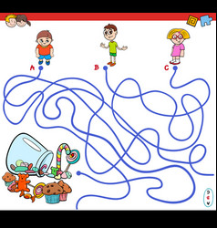 Cartoon paths maze game with kids and candy vector