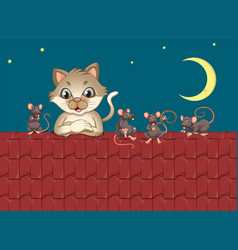 cat an mouse at roof vector image