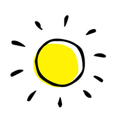 Childish colorful hand drawing a sun in vector