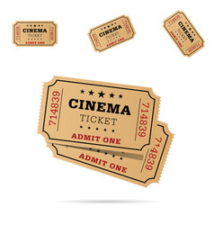 cinema ticket movie entertainment set vector image