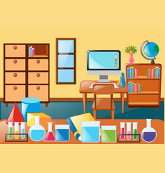 Classroom full of science equipment vector