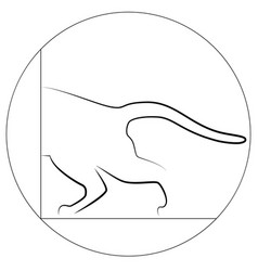 contour of a cat half a cat with a tail that vector image
