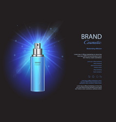 Cosmetic ads blue spray bottles mockup vector