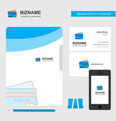 credit card business logo file cover visiting vector image