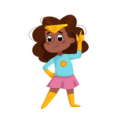 Cute african american girl playing superhero vector
