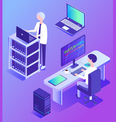 datacenter technology and workers analyzing info vector image