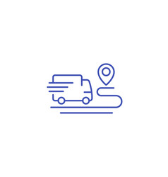 Delivery service icon van and destination point vector