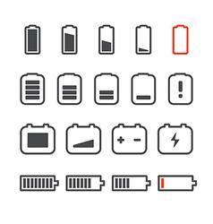 Different accumulator status icons Minimalism conc vector