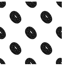 donut icon in black style isolated on white vector image