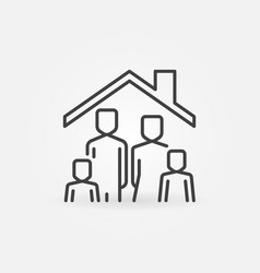 Family in house concept line icon stay vector