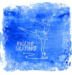 Figure skater girl on a watercolor background vector image