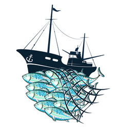 Fishing boat and fish in the fishnet vector