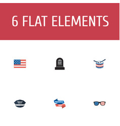 Flat icons hat tomb ribbon and other vector