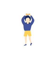 flat kid boy doing dumbbell workout vector image