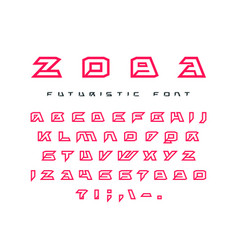 Futuristic contour font vector