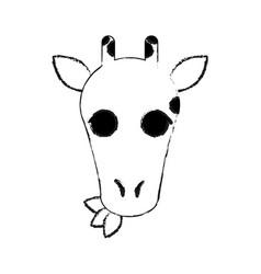 Giraffe eating leaves cute animal cartoon icon vector