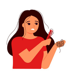 Girl combs her hair hair on comb fall hair vector