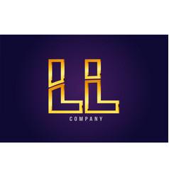 Gold golden alphabet letter ll l l logo vector
