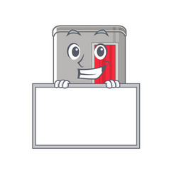 Grinning with board photo booth in character vector
