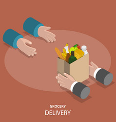grocery fast delivery flat isometric concept vector image