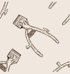 hair clipper seamless pattern engraving vector image
