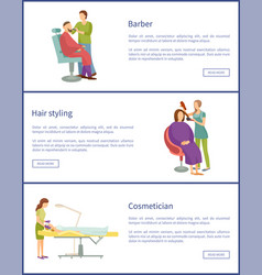 Hair styling and barber service posters set vector