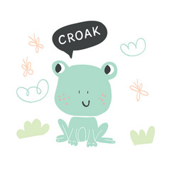 hand drawn cute frog character vector image