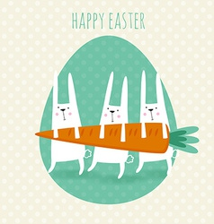 Happy easter greeting card with cute rabbit vector image